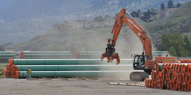 Steel pipe to be used in the oil pipeline construction of Kinder Morgan Canada's Trans Mountain expansion sits at a stockpile site in Kamloops
