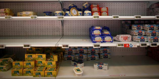 La pénurie de beurre dans un supermarché de Saint-Sebastien-sur-Loire.