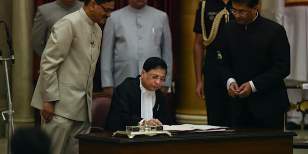 NEW DELHI, INDIA  AUGUST 28: Dipak Misra during his oath ceremony as a New Chief Justice of India at Rashtrapati Bhavan in New Delhi.(Photo by Pankaj Nangia/India Today Group/Getty Images)