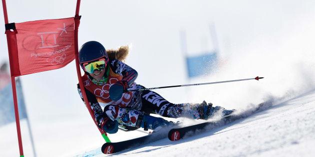 Sarah Schleper durante su participación en la competencia de 'slalom' gigante en el centro alpino Yongpyong .