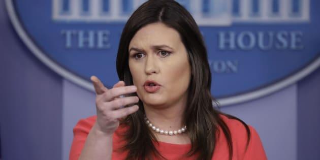 Sarah Sanders lors du briefing presse à la Maison Blanche lundi 28 janvier.