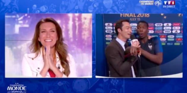 Les Français champions du monde: Paul Pogba veut répondre au tacle d'Anne-Sophie Lapix... mais s'adresse à Anne-Claire Coudray.