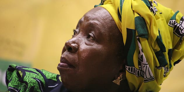 DURBAN, SOUTH AFRICA  APRIL 20: (SOUTH AFRICA OUT): Nkosazana Dlamini-Zuma addresses the ANC Youth League members and students at the Durban University of Technology (DUT) on April 20, 2017 in Durban, South Africa. Dlamini-Zuma addressed DUT students and ANCYL members on issues of free education. (Photo by Siyanda Mayeza/Foto24/Gallo Images/Getty Images)