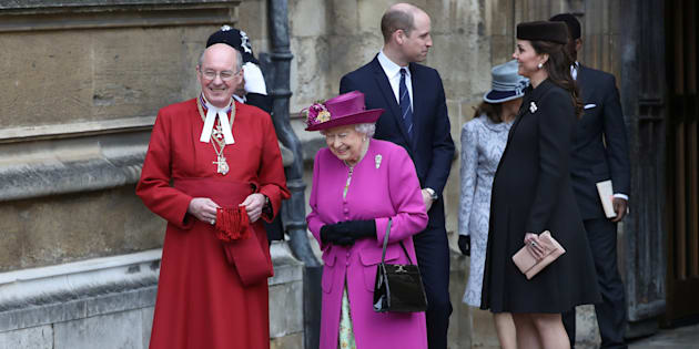 Queen Elizabeth and Prince William and Catherine, Duchess of Cambridge, leave the annual Easter Sunday service at St George's Chapel at Windsor Castle in Windsor, April 1, 2018.