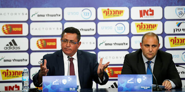 Coupe du monde 2018 - Le vice-président de la fédération israélienne de football Rotem Kamer et le président de l'association israélienne de football Ofer Eini en conférence de presse le 6 juin 2018.