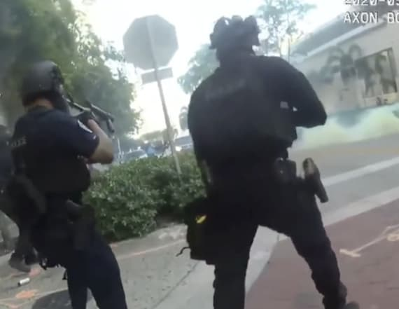 Officers laugh after shooting rubber bullets