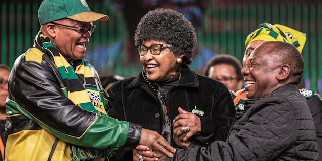 Jacob Zuma, Winnie Madikizela-Mandela and Cyril Ramaphosa during the opening session of the ANC's policy conference