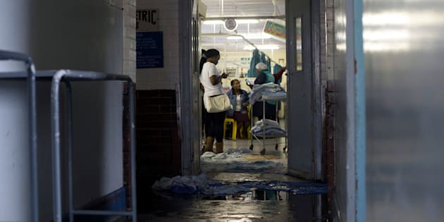 Blankets are used to stop water entering a ward at King Edward VIII Hospital during a storm in Durban, South Africa October 10, 2017.