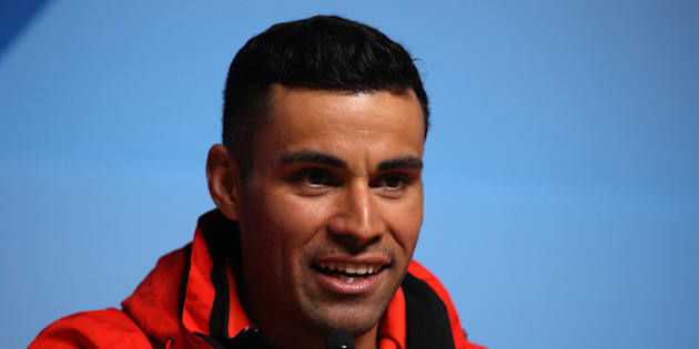 Tongan skier Pita Taufatofua speaks during a press conference at the Main Press Centre during the PyeongChang 2018 Winter Olympic Games on Feb.14, 2018 in Pyeongchang-gun, South Korea.