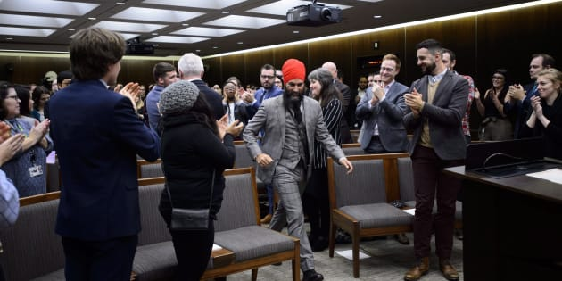 NDP Leader Jagmeet Singh prepares to address NDP staffers as they gather for their annual Staff Forum in Ottawa on Dec, 4, 2018.