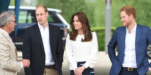 LONDON, ENGLAND - MAY 16:  Prince William, Duke of Cambridge, Catherine, Duchess of Cambridge and Prince Harry arrive to attend the launch of Heads Together Campaign at Olympic Park on May 16, 2016 in London, England.  (Photo by Stuart C. Wilson/Getty Images)