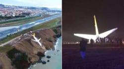Questo Boeing ha mancato la pista d'atterraggio ed è finito su una