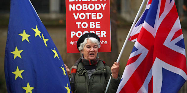Una manifestante proeuropea en Londres.