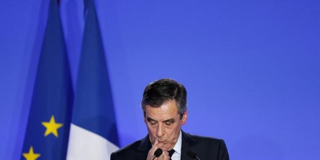 François Fillon au cours de sa conférence de presse le 9 février.