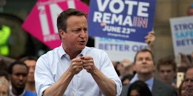 BIRMINGHAM, ENGLAND - JUNE 22:  British Prime Minister David Cameron addresses students and pro-EU 'Vote Remain' supporters during his final campaign speech at Birmingham University on June 22, 2016 in Birmingham, United Kingdom. The final day of campaigning continues across the UK as the country prepares to go to the polls tomorrow to decide whether Britain should remain or leave the European Union  (Photo by Christopher Furlong/Getty Images)