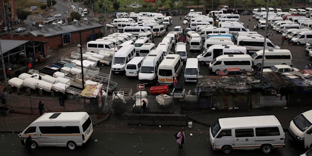 Taxis are seen at a terminal in Johannesburg, South Africa, March 20, 2018.