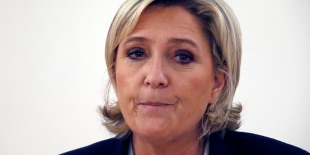 Marine Le Pen, lors d'une réunion à Paris le 13 mars
