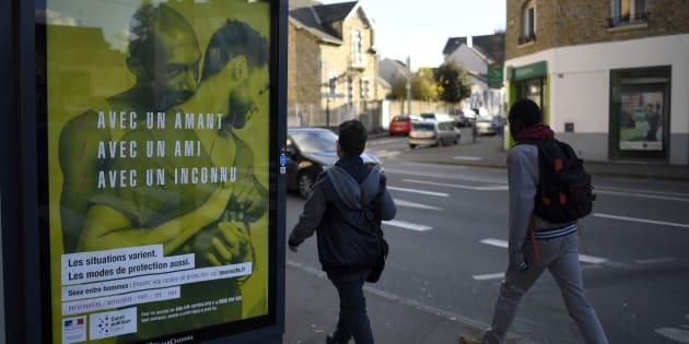 La campagne d'affichage de prévention du sida vue ici à Rennes, le 22 novembre 2016.