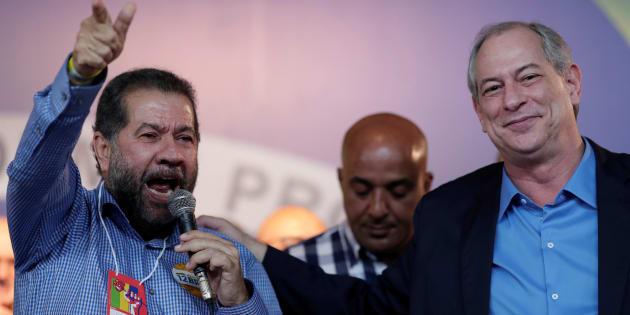 """Carlos Lupi e Ciro Gomes. """"Não vamos nos omitir. Vamos votar em Haddad"""", disse Lupi."""