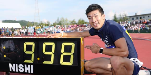 男子100メートル決勝で日本選手初の9秒台となる9秒98を記録した桐生祥秀(東洋大)=9月9日、福井運動公園陸上競技場(撮影日:2017年09月09日)