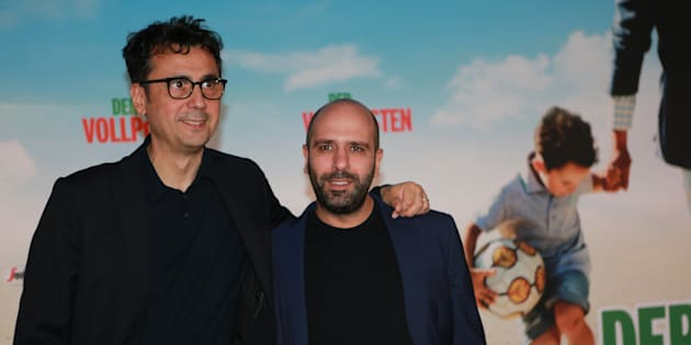 BERLIN, GERMANY - 2016/09/16: The photo shows Checco Zalone and Regisseur Gennaro Nunziante . Cinema Premiere 'Der Vollposten' in the Delphi Filmpalast in Berlin Kantstrasse. Release date is September 22, 2016. (Photo by Simone Kuhlmey/Pacific Press/LightRocket via Getty Images)