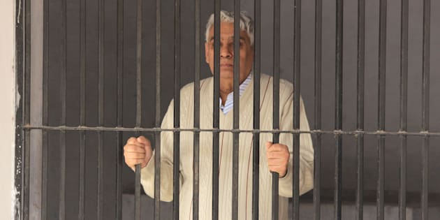 PANCHKULA, INDIA - NOVEMBER 20: Rampal put up in lock up of sector 5 police station after his arrest from Hisar Ashram on November 20, 2014 in Panchkula, India.  (Photo by Sant Arora/Hindustan Times via Getty Images)