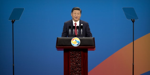 BEIJING, CHINA - MAY 14: Chinese President Xi Jinping speaks during the opening ceremony of the Belt and Road Forum at the China National Convention Center (CNCC) in Beijing, Sunday, May 14, 2017.