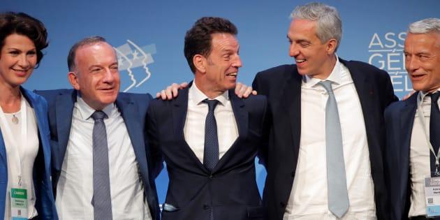 Geoffroy Roux de Bezieux au centre entouré de Pierre Gattaz et des candidats Dominique Carlac'h, Alexandre Saubot et Patrick Martin ce 3 juillet.