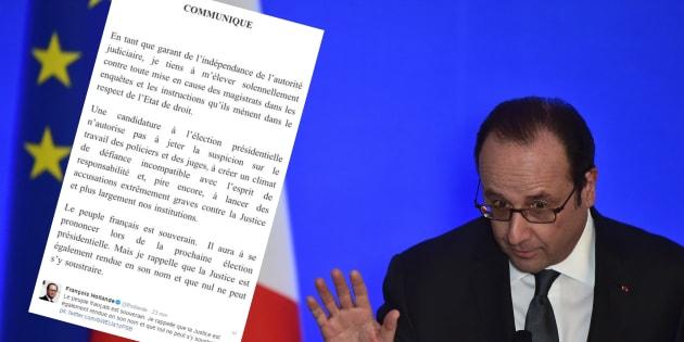 """Hollande charge Fillon, Le Pen et leurs """"accusations extrêmement graves contre la justice"""""""