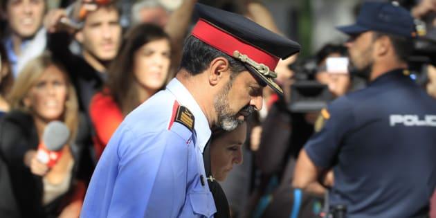 El jefe de los Mossos d'Esquadra, Josep Lluis Trapero, a su salida de la Audiencia Nacional el pasado día 6 de octubre.