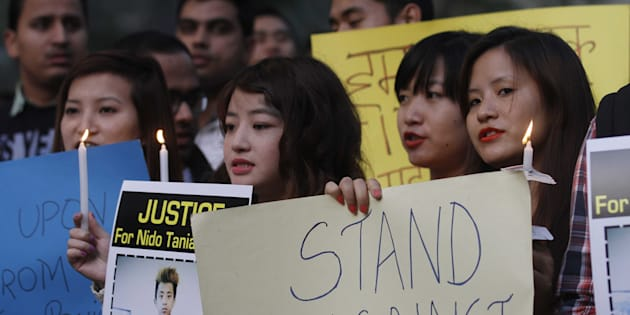 Students from North Eastern India during a candle light vigil against racism and the beating and killing of student Nido Taniam at Jantar Mantar, on February 2, 2014 in New Delhi.