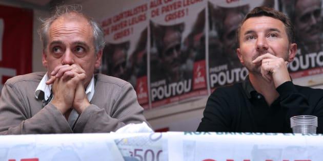 Européennes: le NPA cherche un million d'euros pour financer sa campagne (Photo d'illustration de Philippe Poutou et Olivier Besancenot, prise le 24 novembre 2011 à Saint-Denis).