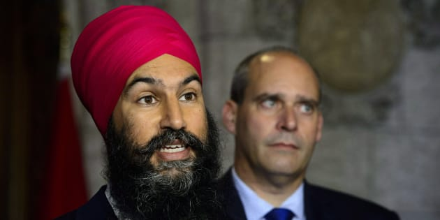 NDP Leader Jagmeet Singh NDP Parliamentary Leader Guy Caron speak to media on Parliament Hill on Sept. 17, 2018.