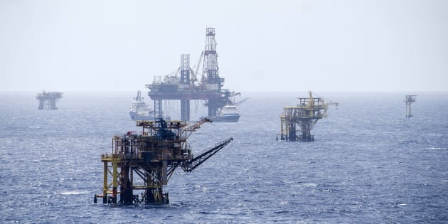 Plataformas de exploración y producción de Petroleos Mexicanos (Pemex), ubicadas en la Sonda de Campeche, en el Golfo de México.
