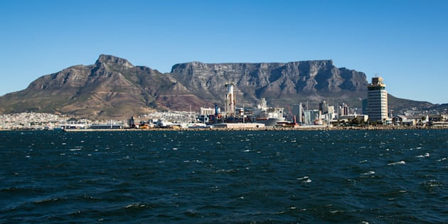 The landscape of Cape Town with a view of the Table Mountain.