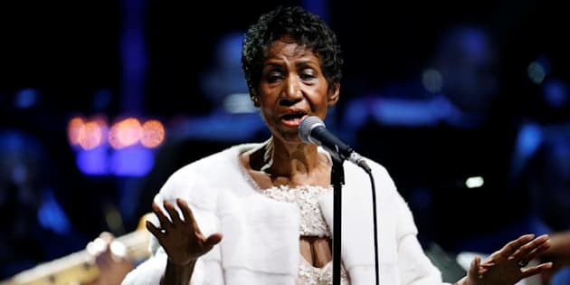 Aretha Franklin performs during the commemoration of the Elton John AIDS Foundation 25th year fall gala at the Cathedral of St. John the Divine in New York City, on Nov. 7, 2017.