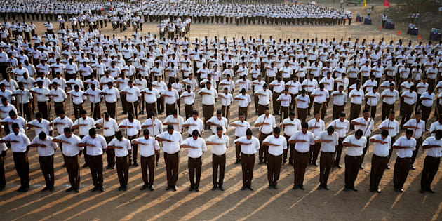 A file photo of RSS volunteers in Ahmedabad.