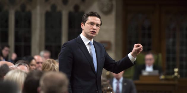 Conservative MP Pierre Poilievre stands during question period in the House of Commons on Nov. 27, 2017.