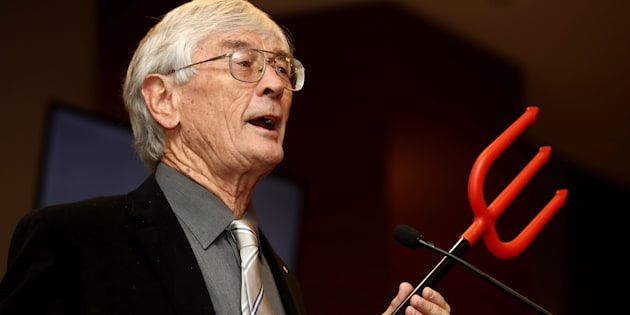 Dick Smith announcing the launch of his $1 million campaign to reduce immigration at the Hilton Hotel on August 15, 2017 in Sydney, Australia.