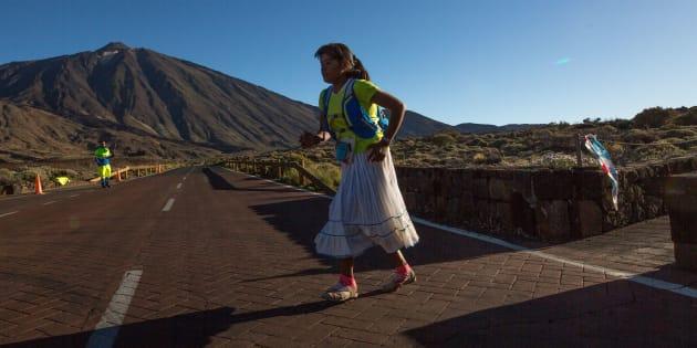 Lorena Ramírez, durante su primera participación en el ultramaratón de Cajamar Tenerife Bluetrail.