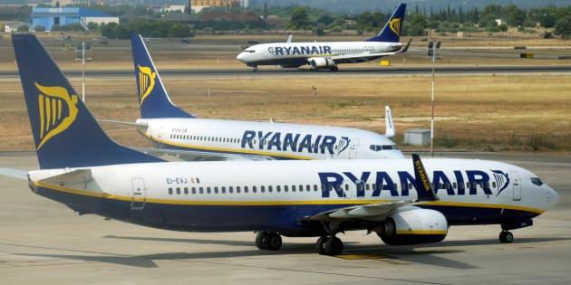 Des avions de Ryanair à l'aéroport de Valence en Espagne le 25 juillet 2018.