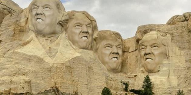 Le visage du président américain sur la célèbre montagne américaine.Capture Twitter @rocketcat88