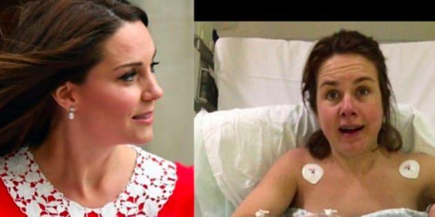Cette internaute se compare à Kate Middleton sept heures après son accouchement.