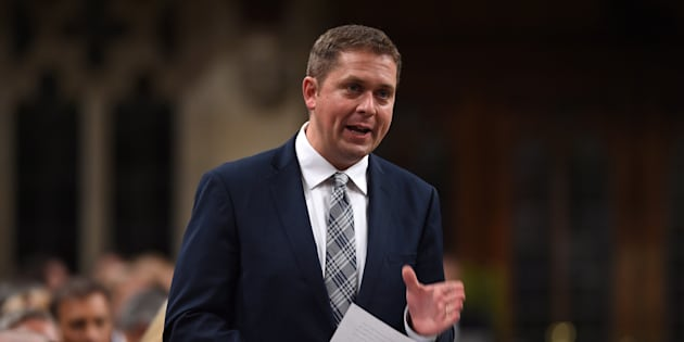 Conservative Leader Andrew Scheer stands during question period in the House of Commons on Parliament Hill in Ottawa on Sept. 18, 2017.