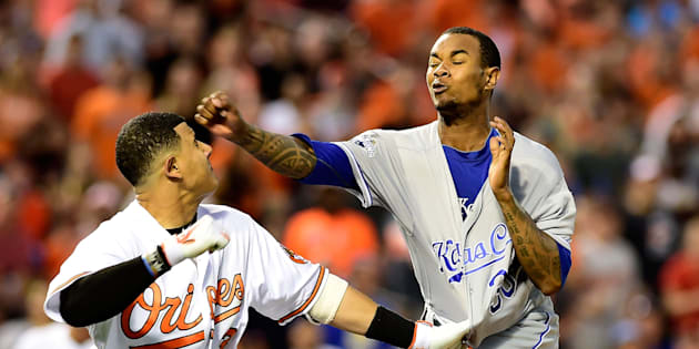 For the Kansas City Royals pitcher, it was a swing and a miss. His Baltimore Orioles opponent, however, sure as hell connected with his punch.