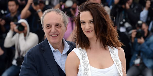 Dario Argento and Asia Argento at the photo call for 'Dario Argento Dracula' during the 65th Cannes International Film Festival. (Photo by Stephane Cardinale/Corbis via Getty Images)