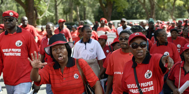 Members of the South African Democratic Teachers Union (Sadtu) protest.