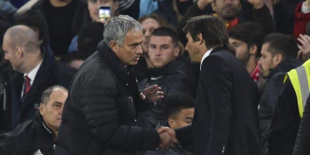 Sèchement battu, Mourinho n'a pas du tout apprécié les célébrations de son homologue italien, Antonio Conte.