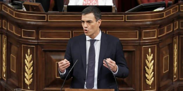 El presidente del Gobierno, Pedro Sánchez, en el discurso de la moción de censura.
