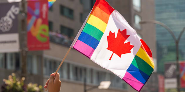 Canadian gay rainbow flag flies at Montreal gay pride parade on Aug. 20, 2017.